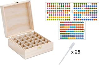 Aroma Designs Wooden Box with Labels for Essential Oil Bottles (Holds 25)