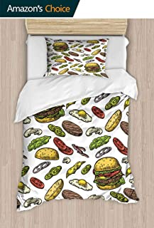 PRUNUSHOME Hotel Collection Soft Luxury Bed Sheets Breathable Burger redients Include Cutlet Tomato Cucumber sala Vintage Warm 2 Piece Set Twin
