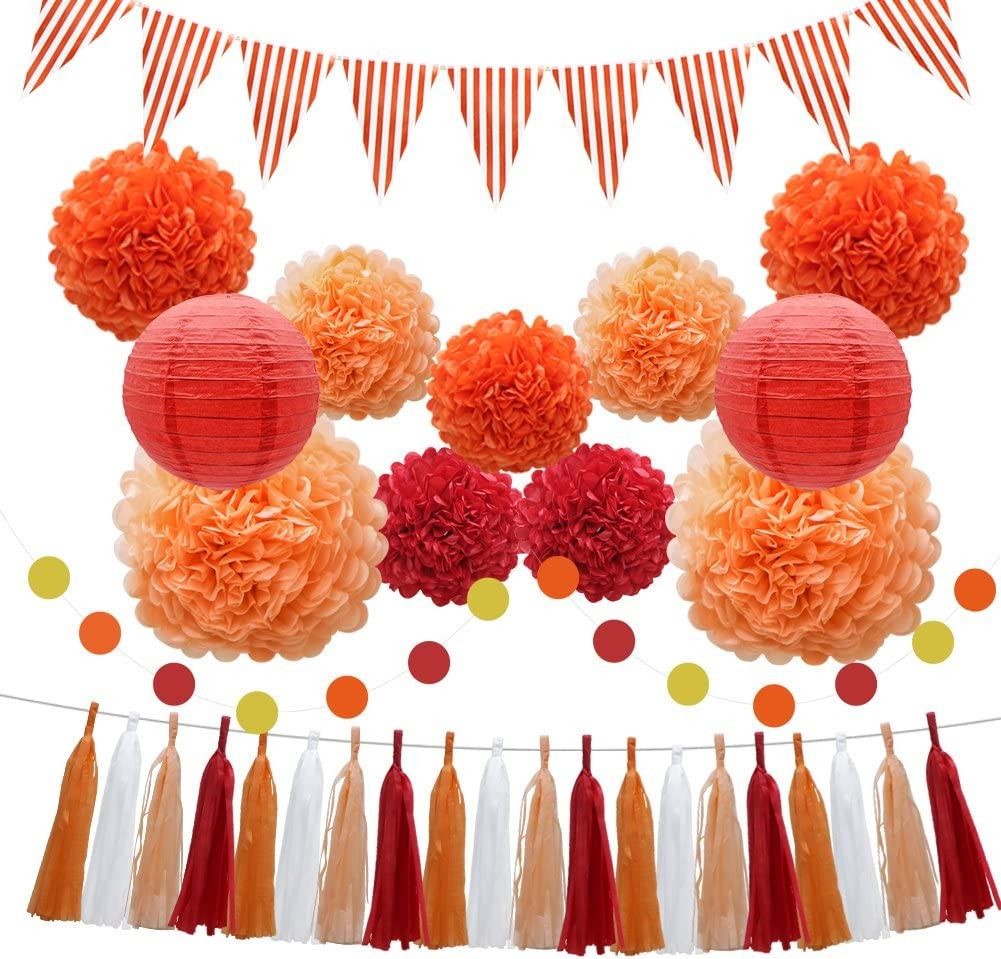 33pcs Party Decoration Supplies Set, Yellow Tissue Paper Pom Poms Flowers Paper Lanterns Tassels Hanging Garland Banner Triangle Flag Bunting for Birthday, Bridal, Baby Shower, Wedding Graduation: Arts, Crafts & Sewing