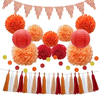 33pcs Party Decorations Supplies Set, Paper Lanterns Tissue Pom Poms Flowers Tassels Hanging Garland Banner Triangle Flag Bunting for Birthday, Baby Shower, Wedding Graduation Events (Orange, Red)