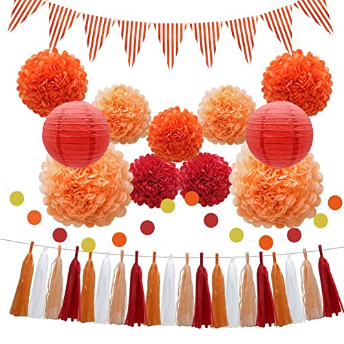 33pcs Party Decorations Supplies Set Paper Lanterns Tissue Pom Poms Flowers Tassels Hanging Garland Banner