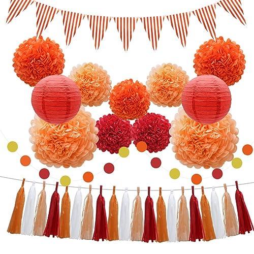 33pcs Party Decorations Supplies Set Paper Lanterns Tissue Pom Poms Flowers Tassels Hanging Garland Banner