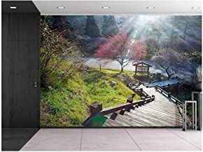 wall26 - Stairway Going Down a Hill to a Kiosk with Pink Cherry Blossom Trees - Wall Mural, Removable Sticker, Home Decor - 100x144 inches