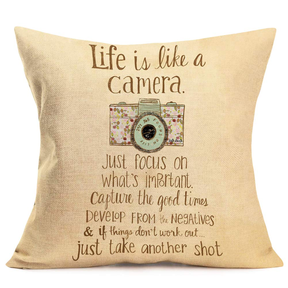 Amazon Com Quote Decorative Pillow Covers Cotton Linen Inspirational Life Quote Saying With Camera Throw Pillow Cover Farmhouse Style Decor Cushion Cover 18 X 18 For Home Sofa Bed Pillowcase Life Like Camera