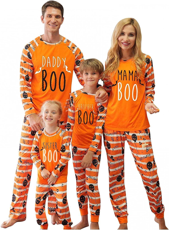 SUIQU Halloween Pajamas Man Dad Letter Print Snug-fit Cotton Pjs Clothes Long Sleeve Top and Pants Sleepwear Sets