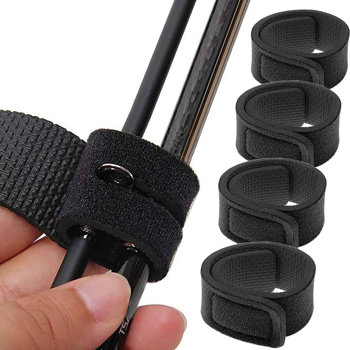 重要な続ける元のLix&Rix 釣りロッドベルト 釣り竿収納用品 固定用 マジックテープバンド 落下防止 黒 ブラック5/10本セット