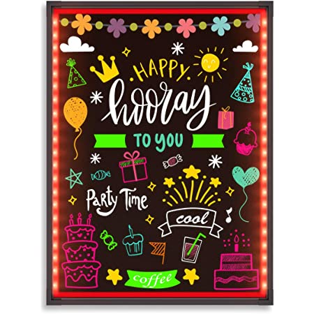 """Hosim LED Message Writing Board 32""""x24"""" Illuminated Erasable Neon Effect Restaurant Menu Sign with 8 colors Markers, 7 Colors Flashing Mode DIY Message Chalkboard for Kitchen Wedding Promotions (6080)"""