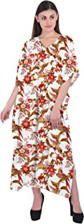 RADANYA Women's Long Kaftan Swimwear Cotton Beach Cover Up for Swimsuit Floral Print