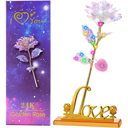 UK Colorful Luminous Rose Artificial LED Light Flower Unique Gifts For Girls NEW