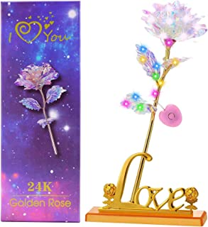 "TOPLEE 24K LED Gold Foil Rose, Galaxy Multicolored Artificial Flower with Base 15"" String Light【Battery Operated】 for Girl..."
