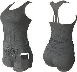 NY GOLDEN FASHION Women Sports Gym Yoga Workout Activewear Sets 2 Pieces Top+Leggings Set