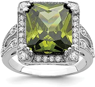 925 Sterling Silver Green Clear Cubic Zirconia Cz Band Ring Fine Jewelry For Women Gift Set