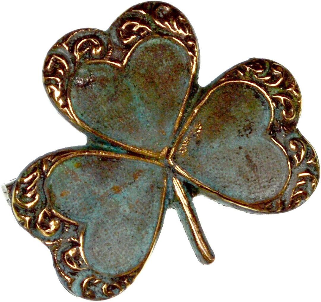 Verdigris Patina Brass Decorative quality Louisville-Jefferson County Mall assurance Pin Shamrock Clover