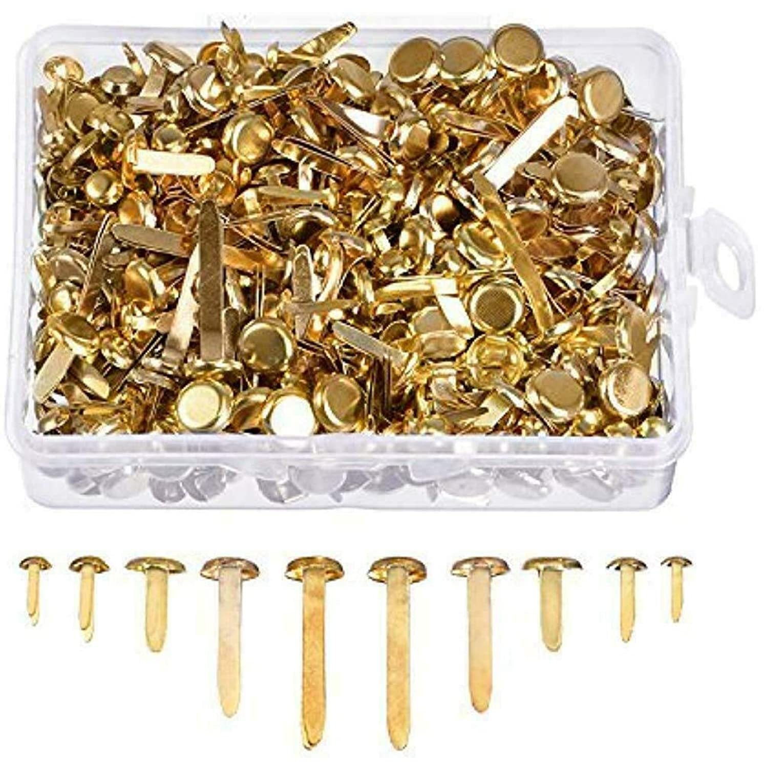 500 Pieces Brass Plated Paper Fasteners Round Metal Brads with Storage Box Size