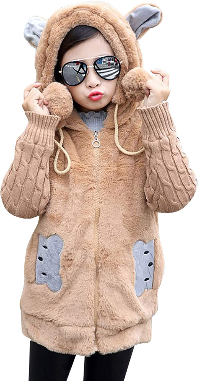 Jizyo Kids Girls Hoodie Outwear Long Sleeve Bear Ears Cartoon Printed Jacket Fleece Sherpa Sweater Coat for Spring Autumn