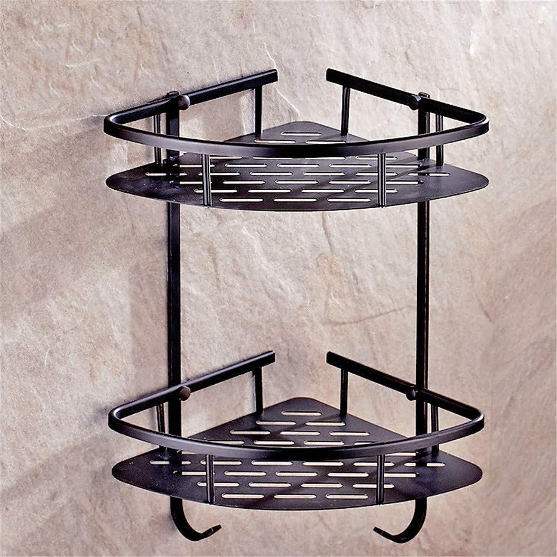 LUDSUY Vintage Black Oil Brass Corner Basket Brushed Corner Shelf Wall Mount Triangular Shelf Bathroom Hardware Sets,D