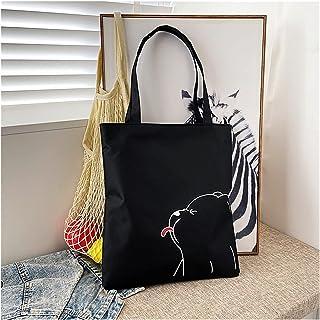 canvas bag Women's Fashion Casual Cartoon Print Shoulder Crossbody Top-Handle Bags Student Canvas Large Capacity Zipper To...
