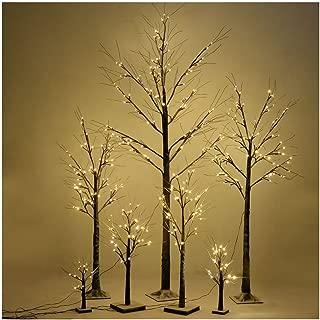 Christmas Xmas Brown Birch Snow Tree LED Light Warm Decorative Festival Party (6 FT 96LED)