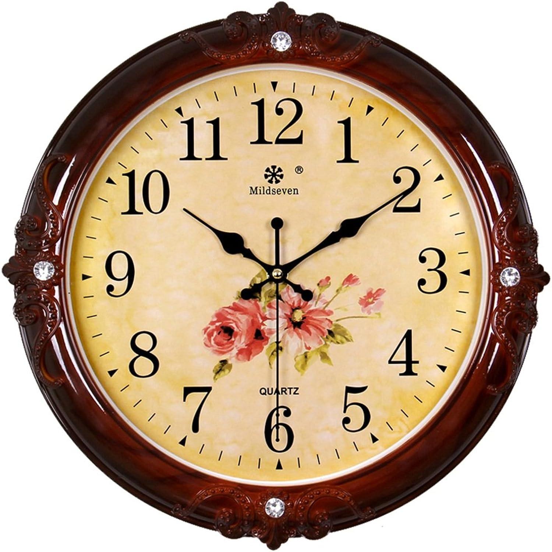 garantía de crédito Relojes Relojes Relojes de parojo FOOFAY Relojes Familiares Europeo Round Mute Family Living Room Mesa Colgante 13 Pulgadas Adecuado para Sala de Estar Dormitorio Oficina (Color   rojo Wood Grain-3)  calidad auténtica