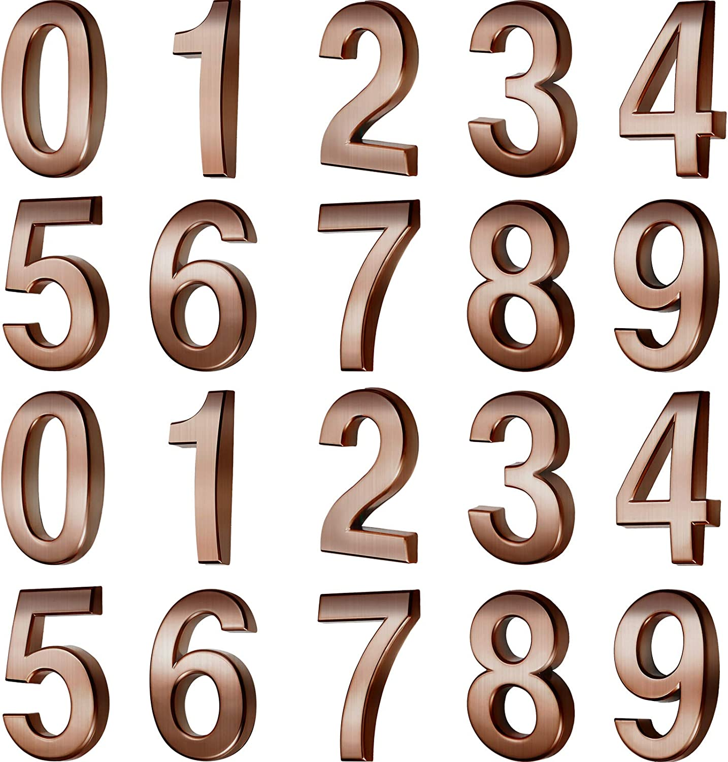20 Pieces Mailbox Numbers 0 - 9 Address Numbers Self Adhesive Door Numbers Reflective Mailbox Numbers for House Mailbox (3 Inch, Copper-Colored)