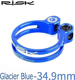 チタン合金スクリュー 軽量 7075アルミニウム合金 ロックシートクランプ マウンテンロードバイク用, (Color : Blue, UnitCount : 34.9mm)