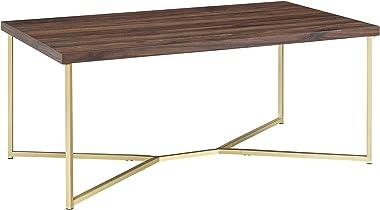 Walker Edison Furniture Company Mid Century Modern Wood Rectangle Coffee Accent Table Living Room, Dark Walnut/Gold