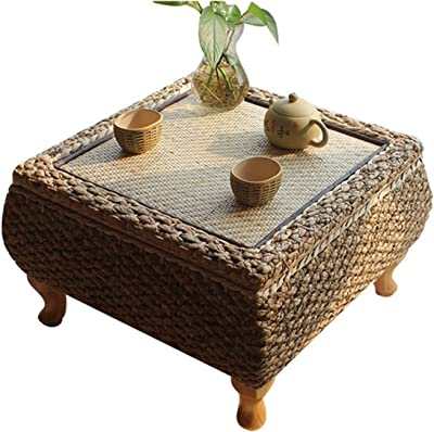 RHTGM Handmade Rattan Tea Coffee Table with Storage Japanese Balcony Bay Window Learning Study Table for Living Room Furniture Tatami Coffee Table (Color : 50x50x30cm)