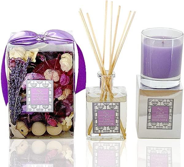 Manu Home Lavender Gift Set Includes CALM Lavender Potpourri 12oz Lavender Candle 4 5oz Lavender Reed Diffuser 4oz 8 Reeds Sticks