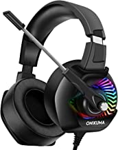 Gaming Headphones - ONIKUMA PS4 Gaming Headset with Mic, 7.1 Surround Sound& RGB LED Light, Noise Canceling Earpads, Soft Memory Earmuff for PS4, Xbox One, PC, Mac, Laptop, Nintendo Switch