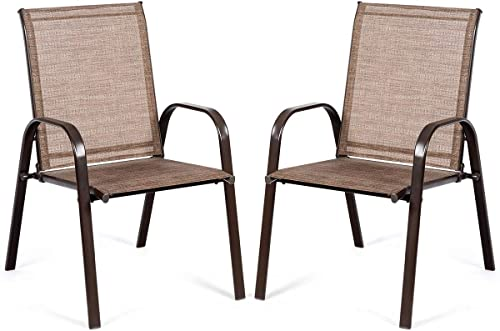 high quality Giantex 2 Piece Patio Chairs, Outdoor Camping Chairs with Breathable Fabric, Set of 2 Garden Chairs with online sale Armrest High Backrest for Garden popular Patio Pool Beach Yard Space Saving (1, Brown) sale