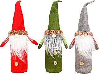 3pcs Christmas Gnome Wine Bottle Cover, Handmade Swedish Tomte Gnomes Wine Bottle Toppers Santa Claus Wine Gift Bags with ...