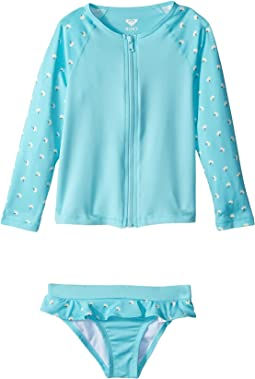 Tropical Blooms Long Sleeve Zip Lycra Set (Toddler/Little Kids)