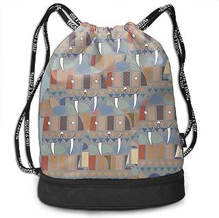 Address Verb Drawstring Backpack with Pocket Multifunctional Sturdy Walrus Sackpack Sports Gym Shoulder String Bags