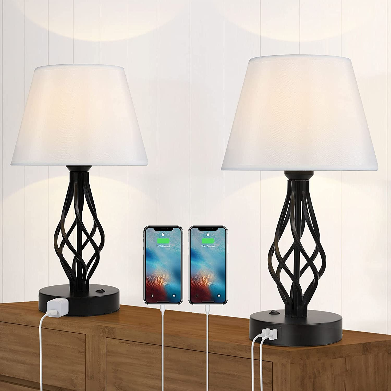 Cheap mail order shopping Set of 2 Table Lamp Modern AC USB Dallas Mall Nighstand with Dual Ports