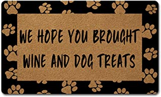 Welcome Door Mats for Home Decor (18 x 30 inch) Funny Mats with Anti-Slip Rubber Back Kitchen Rugs Personalized Doormat for Entrance Way (We Hope You Brought Wine and Dog Treats)