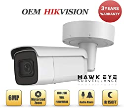 6MP PoE Security IP Camera - Compatible with Hikvision Performance Series DS-2CD2665G0-IZS Varifocal Bullet,Indoor and Outdoor,Motorzied Lens 2.8-12mm IR Night Vision English Version 3 Year Warranty