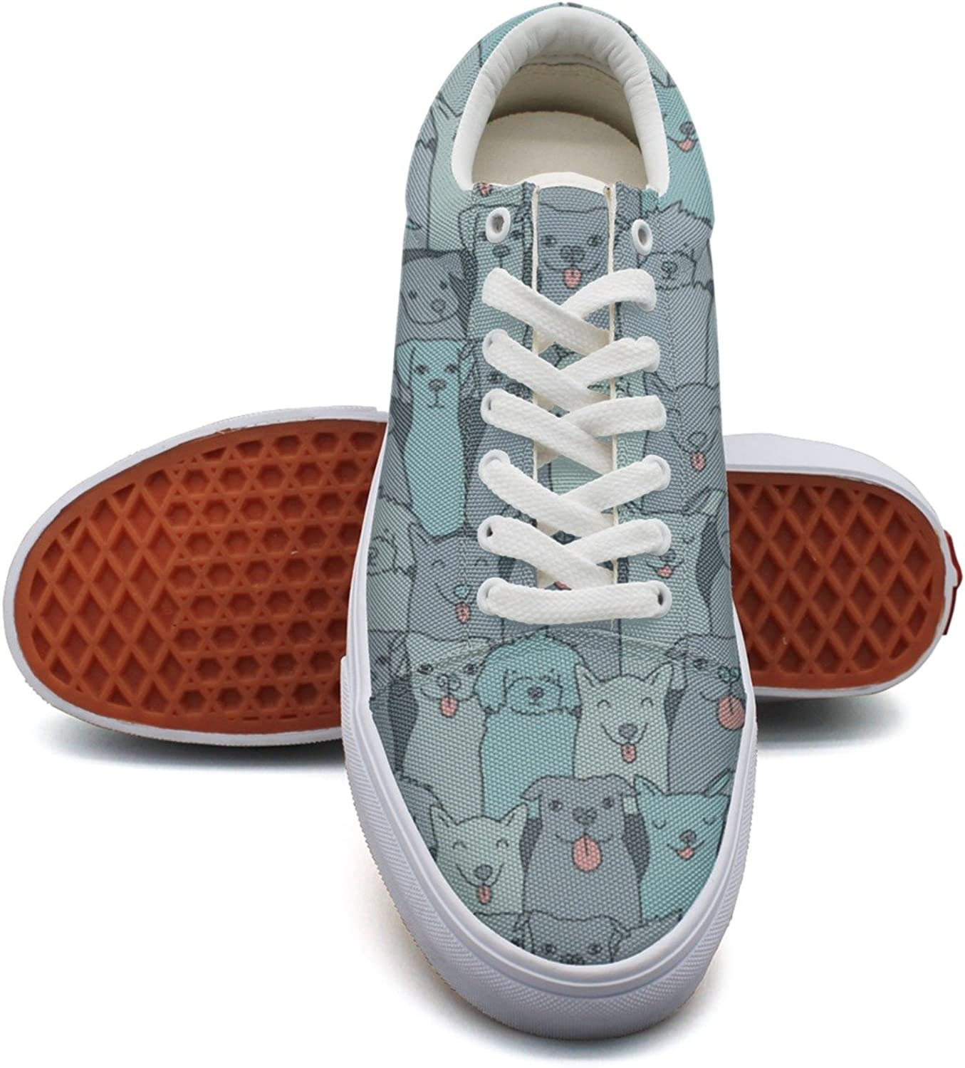 Cute Doggy Puppy bluee Pattern Fashion Canvas Sneaker For Womns 3D Printed Low Top Walking shoes