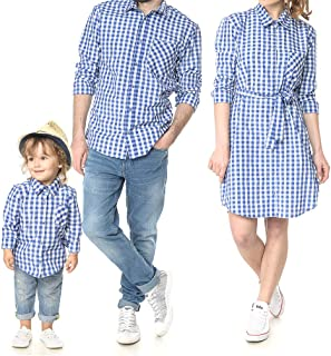 Mother Father Kids Family Matching Shirt Dress Casual Plaid Family Clothes with Chest Pockets