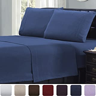 Mellanni Full Flannel Sheet Set - 4 pc Luxury 100% Cotton - Lightweight Bed Sheets - Cozy, Soft, Warm, Breathable Bedding - Deep Pockets - All Around Elastic (Full, Blue)