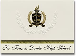 Signature Announcements Sir Francis Drake High School (San Anselmo, CA) Graduation Announcements, Presidential style, Basic package of 25 with Gold & Black Metallic Foil seal