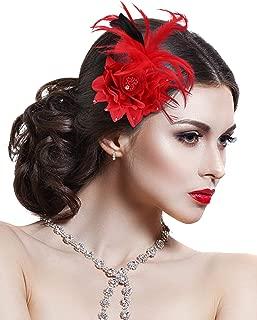 Fascinators for Women Tea Party Wedding Headband Flower Feather Brooch Hair Clip