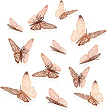 Lainrrew 48 Pcs 3D Butterfly Wall Decor, Metallic Rose Gold Butterfly Decals Stickers for Nursery, Room, Party, Wedding Decor