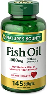 Fish Oil by Nature's Bounty, Dietary Supplement with 300mg Omega-3, Supports Heart Health, 1000mg, 145 Softgels