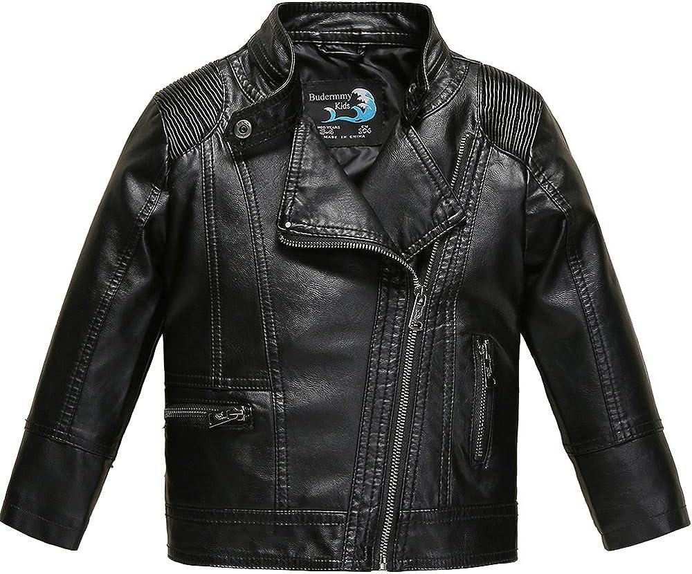 Budermmy Brand new Boys Faux Bombing new work Leather Motorcycle Moto Jackets Zipper Biker