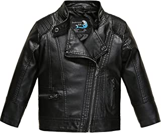 Budermmy Boys Faux Leather Motorcycle Moto Biker Jackets Zipper Coats