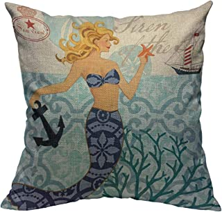 oFloral Mermaid Pillow Square Cushion Cover Home Sofa Bedroom Living Room Decorative 18