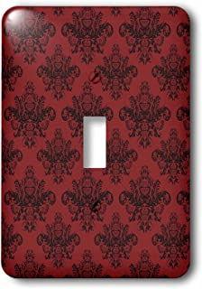 3dRose lsp_113832_1 Elegant Black and Red Baroque Damask Pattern Single Toggle Switch