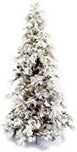 Direct Export 7.5' Flocked Pine Long Needle Prelit Artificial Christmas Tree