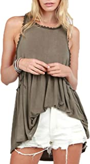 Women's Baby doll Racer back Tank Top (Large, Olive)