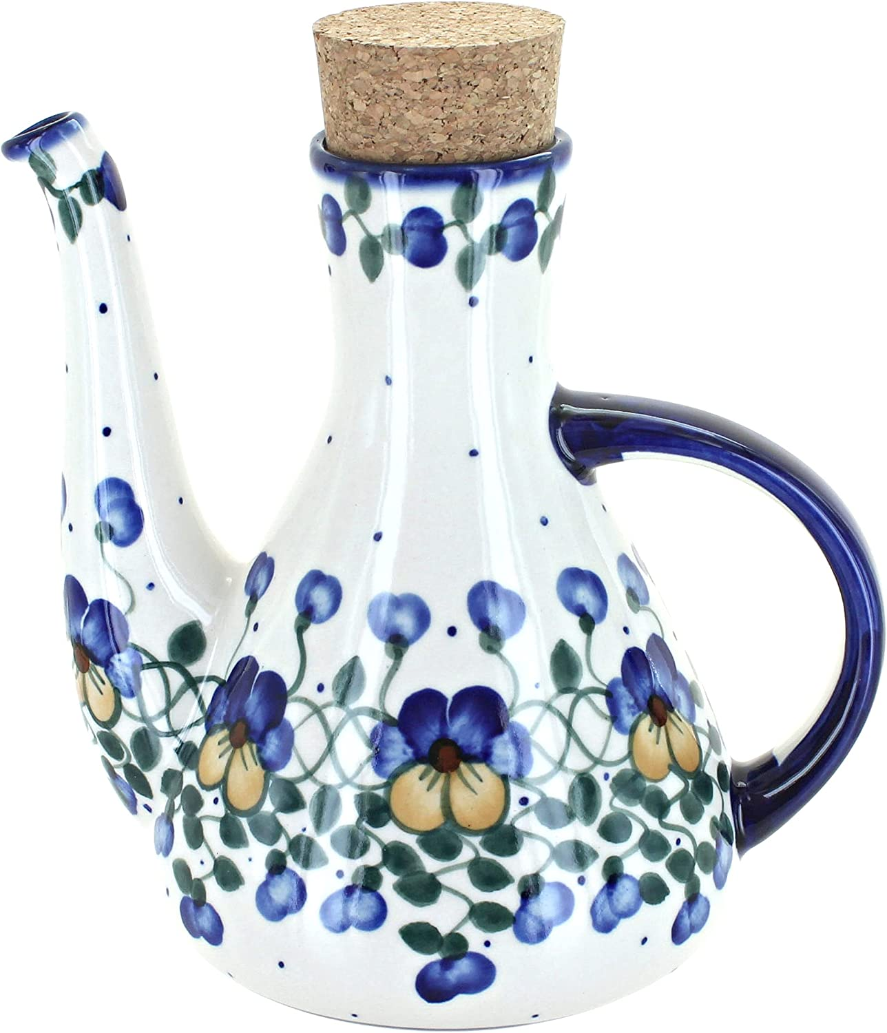 Blue Rose Polish Pottery Super sale period limited Oil Container Olive Max 79% OFF Pansies
